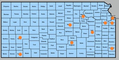 Map of Kansas counties with NIH grant counties highlighted